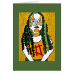 girl with green hair greeting card