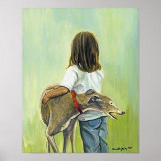 """Girl with Greyhound"" Art Print"