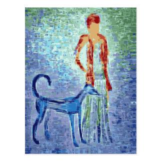 Girl with greyhound artwork postcard