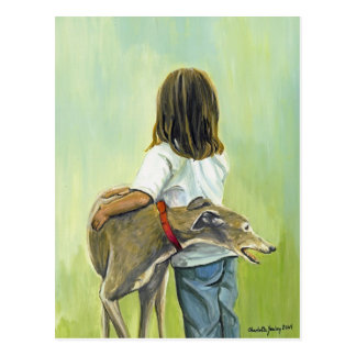 """Girl with Greyhound"" Dog Art Postcard"