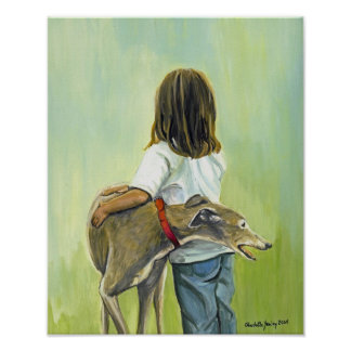 """Girl With Greyhound"" Dog Art Reproduction Print"