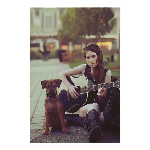 Girl with guitar and dog poster