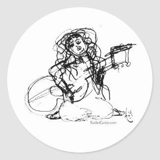 Girl with Guitar Classic Round Sticker