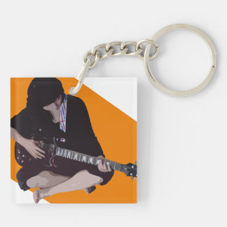 Girl with Guitar Keychain