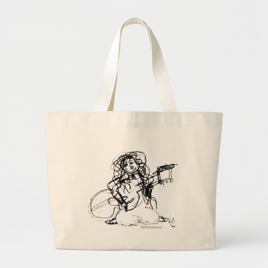 Girl with Guitar Large Tote Bag