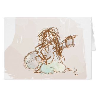 Girl with Guitar Stationery Note Card