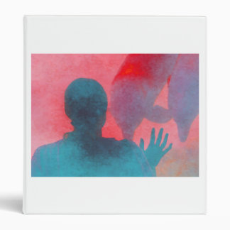 Girl with hand up by dolphin blue pink colored binders