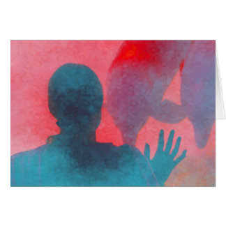 Girl with hand up by dolphin blue pink colored card