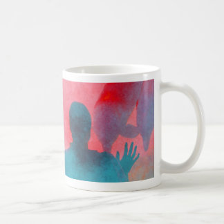 Girl with hand up by dolphin blue pink colored coffee mugs
