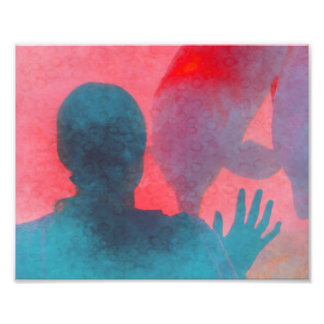 Girl with hand up by dolphin blue pink colored photo print