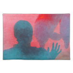Girl with hand up by dolphin blue pink colored place mats