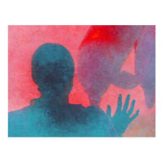 Girl with hand up by dolphin blue pink colored postcard