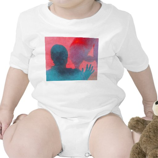 Girl with hand up by dolphin blue pink colored tshirts