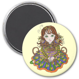 Girl with Happy Birthday Party Cats Magnet