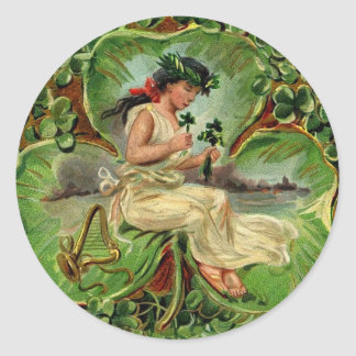 Girl with harp and shamrocks classic round sticker