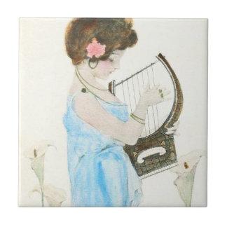 Girl with Harp Art Nouveau Tile