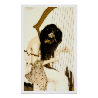 Girl with Harp Poster