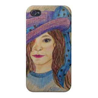 Girl with Hat and Bow from artist Carol Zeock Cases For iPhone 4