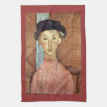 Girl with Hat by Amedeo Modigliani Kitchen Towel