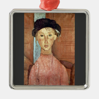 Girl with Hat by Amedeo Modigliani Christmas Tree Ornament