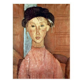 Girl with Hat by Amedeo Modigliani Postcard