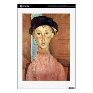 Girl with Hat by Amedeo Modigliani PS3 Console Decal