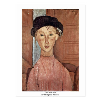 Girl With Hat By Modigliani Amedeo Post Cards