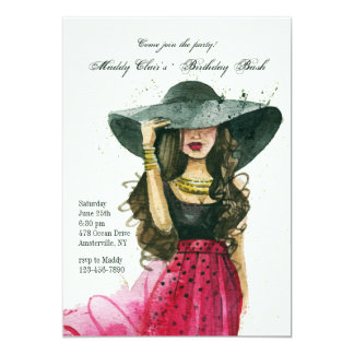 Girl With Hat Invitation