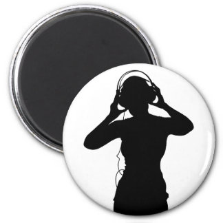Girl with Headphones in Silhouette Magnet