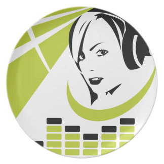 Girl with headphones plate