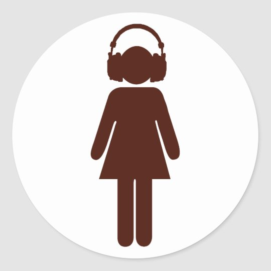 Girl with headphones sticker - brown