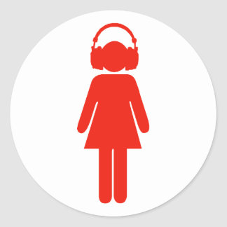 Girl with headphones sticker - red