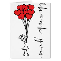 Girl with Heart Balloons Doodles Thank You Card