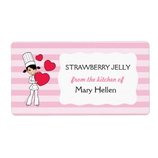 Girl with Hearts Motif - Label