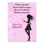 """Girl with Hearts Pink Graduation Party Invitation 5"""" X 7"""" Invitation Card"""