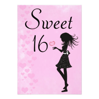 Girl with Hearts Pink Sweet 16 Birthday Invitation