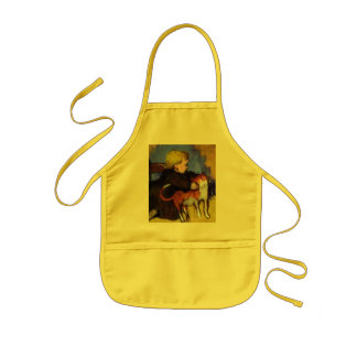 Girl with Her Pet Cat Apron