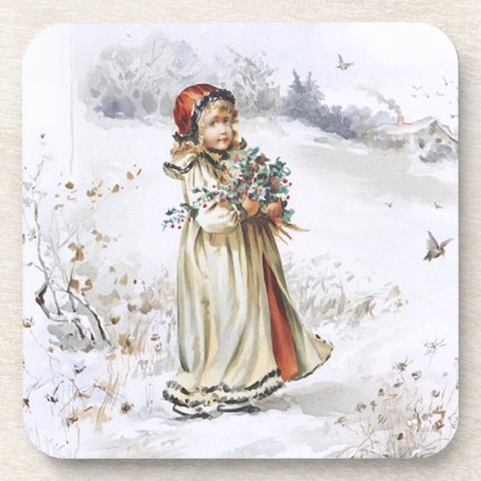 Girl with Holly Beverage Coaster