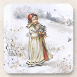 Girl with Holly Coasters