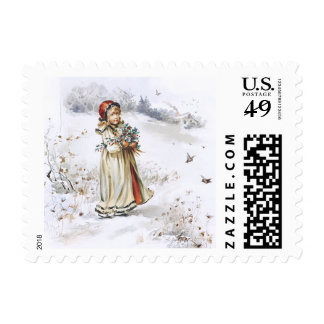 Girl with Holly Postage