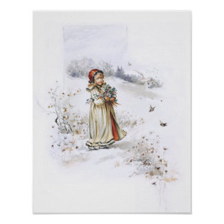 Girl with Holly Poster