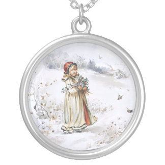 Girl with Holly Round Pendant Necklace
