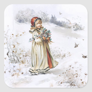 Girl with Holly Square Sticker