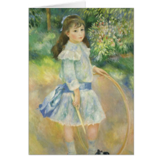 Girl with Hoop by Pierre Renoir, Vintage Fine Art Card