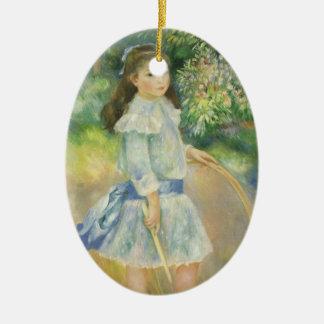 Girl with Hoop by Pierre Renoir, Vintage Fine Art Ceramic Ornament