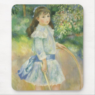 Girl with Hoop by Pierre Renoir, Vintage Fine Art Mouse Pad