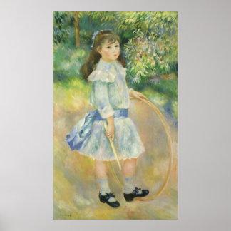 Girl with Hoop by Pierre Renoir, Vintage Fine Art Poster