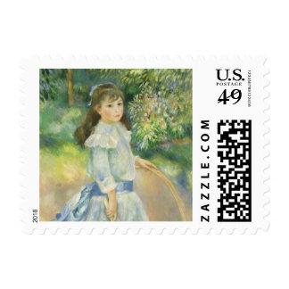 Girl with Hoop by Pierre Renoir, Vintage Fine Art Stamp