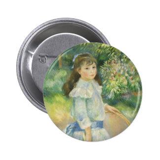 Girl with Hoop, Renoir, Vintage Impressionism Art 2 Inch Round Button