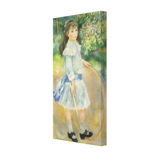 Girl with Hoop, Renoir, Vintage Impressionism Art Canvas Print